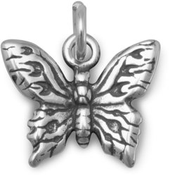 Oxidized Butterfly Charm 925 Sterling Silver