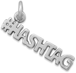 Oxidized #HASHTAG Charm 925 Sterling Silver