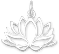 Lotus Flower Charm 925 Sterling Silver