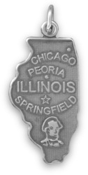 Illinois State Charm 925 Sterling Silver