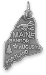 Maine State Charm 925 Sterling Silver