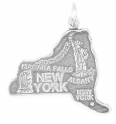 New York State Charm 925 Sterling Silver