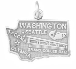 Washington State Charm 925 Sterling Silver