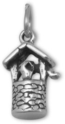 Oxidized Wishing Well Charm 925 Sterling Silver
