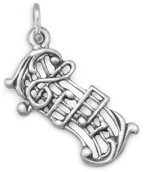 Oxidized Music Staff Charm 925 Sterling Silver