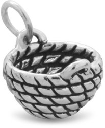 Oxidized Basket Charm 925 Sterling Silver