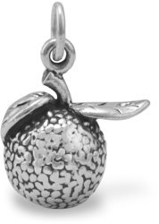 Oxidized Orange Charm 925 Sterling Silver