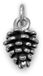 Oxidized Pine Cone Charm 925 Sterling Silver