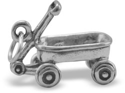 Wagon Charm 925 Sterling Silver