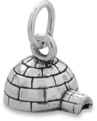 Oxidized Igloo Charm 925 Sterling Silver