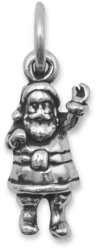 Oxidized Santa Claus Charm 925 Sterling Silver