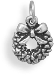 Oxidized Wreath Charm 925 Sterling Silver