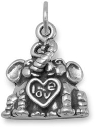 Elephants in Love Charm 925 Sterling Silver