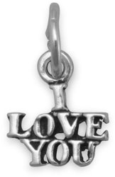 Oxidized I Love You Charm 925 Sterling Silver