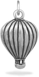 Oxidized Hot Air Balloon Charm 925 Sterling Silver