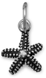 Oxidized Starfish Charm 925 Sterling Silver