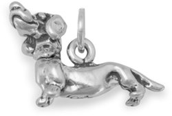 Dachshund with Movable Head Charm 925 Sterling Silver