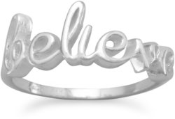 Polished Script believe Ring 925 Sterling Silver