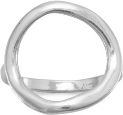 Textured Open Circle Ring 925 Sterling Silver