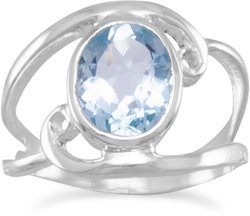 Cut Out Oval Blue Topaz Ring with Swirls 925 Sterling Silver - CLEARANCE