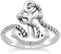 Oxidized Anchor Ring with Rope 925 Sterling Silver