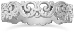 Ornate Rhodium Plated Fleur de Lis Ring 925 Sterling Silver