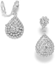Elegant Silver Tone Crystal Pear Drop Clip On Fashion Earrings