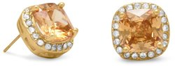 Gold Tone Soft Square Champagne CZ Fashion Post Earrings