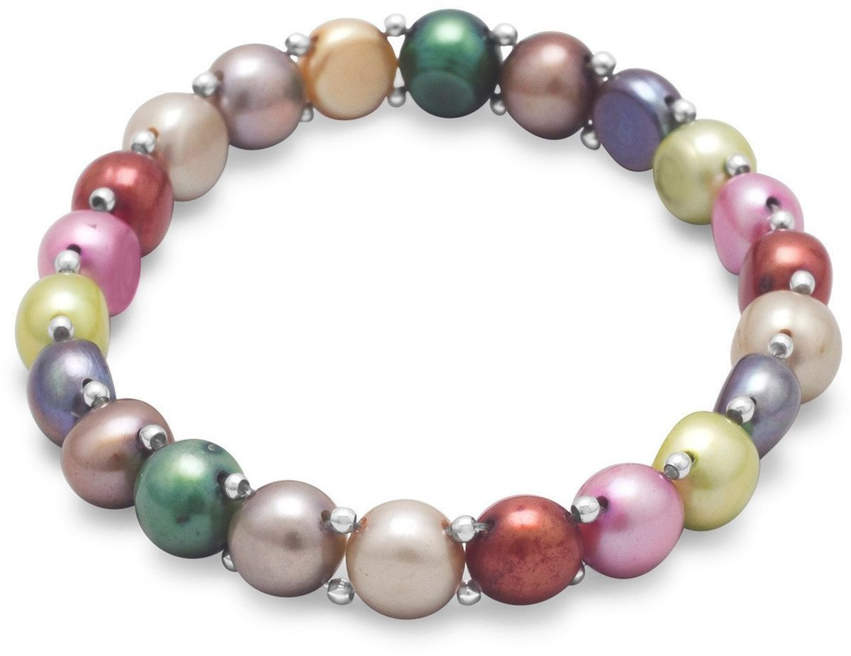 Multicolor Cultured Freshwater Pearl and Sterling Silver Bead Stretch Bracelet