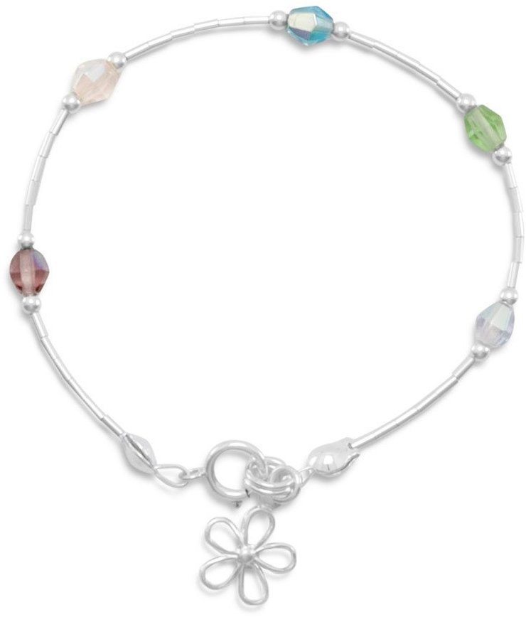 "5.5"" Bracelet with Multi Color Crystals and Flower Charm 925 Sterling Silver"