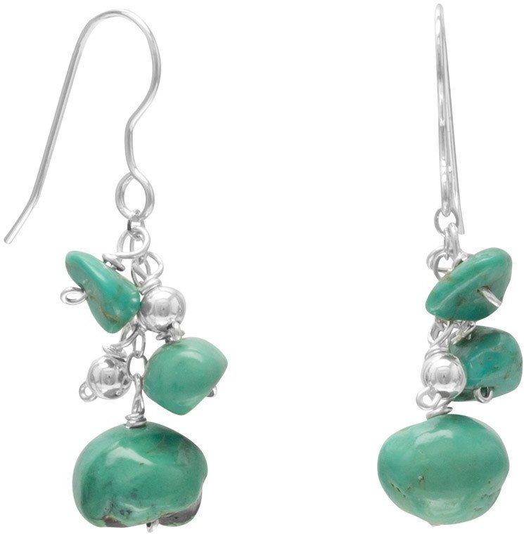 Turquoise and Silver Bead Drop Earrings 925 Sterling Silver