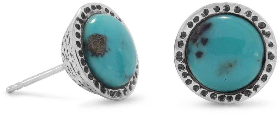 Oxidized Turquoise Stud Earrings 925 Sterling Silver