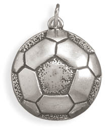 Oxidized Large Soccer Ball Charm 925 Sterling Silver - LIMITED STOCK