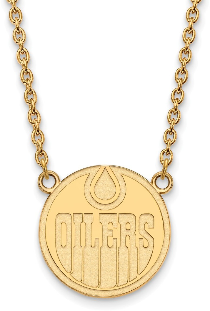 "18"" Gold Plated Sterling Silver NHL Edmonton Oilers Large Pendant LogoArt Necklace"