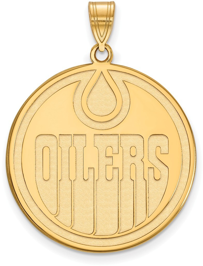Gold Plated Sterling Silver NHL Edmonton Oilers XL Pendant by LogoArt