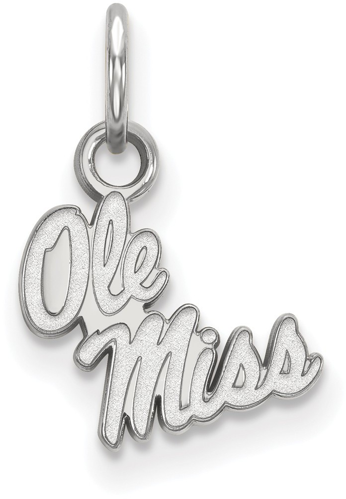 10K White Gold University of Mississippi X-Small Pendant by LogoArt (1W043UMS)