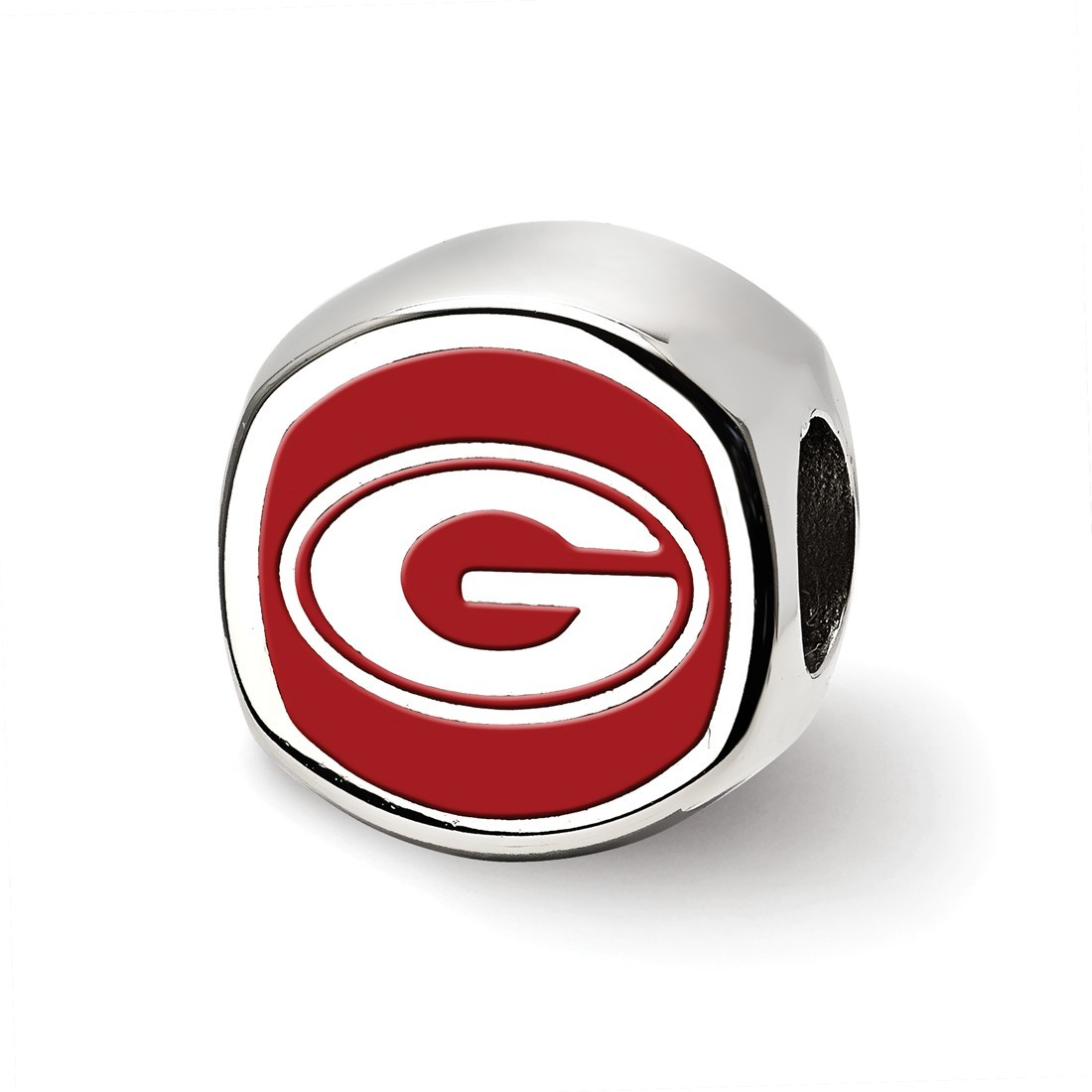 Beads Company Logo: Sterling Silver University Of Georgia Cushion Shaped Logo