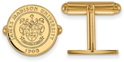 Gold Plated Sterling Silver James Madison University Crest Cuff Links by LogoArt
