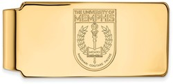 14K Yellow Gold University of Memphis Money Clip Crest by LogoArt