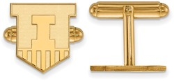 Gold Plated Sterling Silver University of Illinois Cuff Links LogoArt (GP052UIL)
