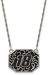 NASCAR - #18 Stainless Bali Type Split Chain Pendant by LogoArt