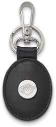 Sterling Silver NHL Minnesota Wild Black Leather Oval Key Chain by LogoArt