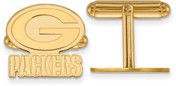 Gold Plated Sterling Silver LogoArt NFL Green Bay Packers Cufflinks
