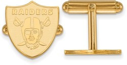 Gold Plated Sterling Silver LogoArt NFL Oakland Raiders Cufflinks