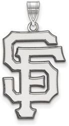14k White Gold MLB LogoArt San Francisco Giants S and F Extra Large Pendant