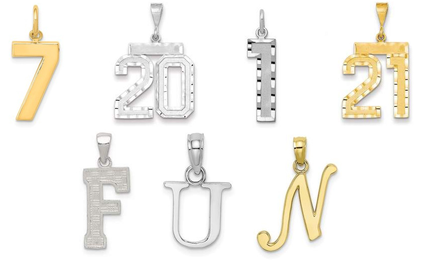 Letter and Number Pendants