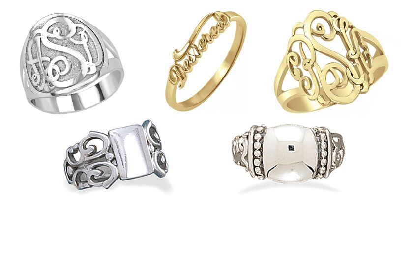 Engravable and Customized Sterling Silver Rings