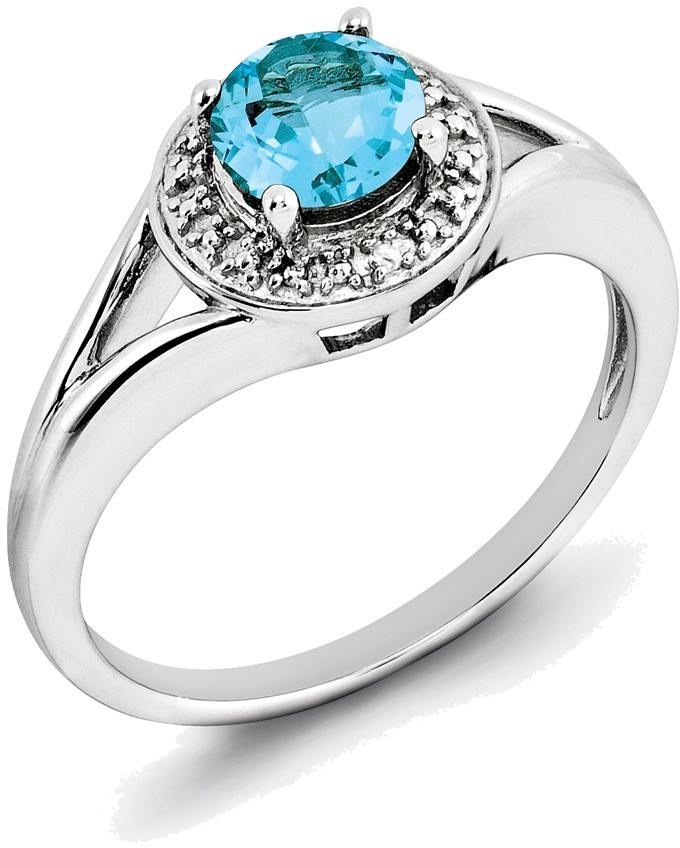 Sterling Silver Rhodium-plated Round Blue Topaz & Diamond Accents Ring