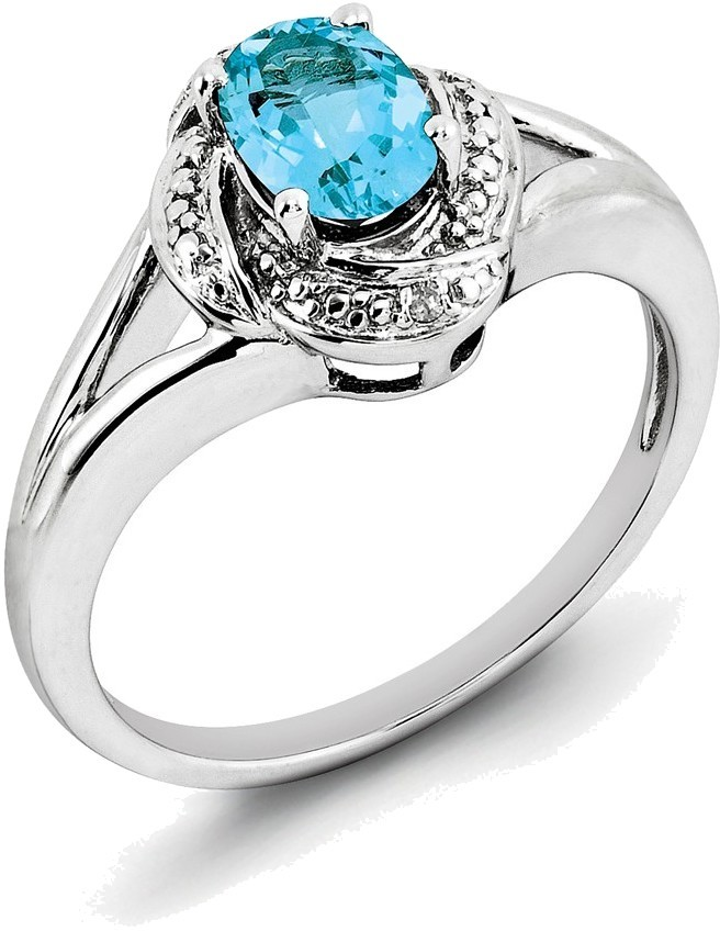 Sterling Silver Rhodium-plated Oval Blue Topaz & Swirl Diamond Accents Ring