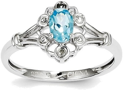 Sterling Silver Rhodium-plate Light Swiss Blue Topaz & Diamond Round Cutout Ring